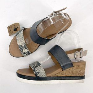 Crevo Vickee Snakeskin Black Leather Wedge Sandals